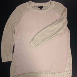High/low, 3/4 sleeve, knit sweater w/silky front